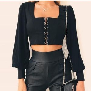 Tops - Backless lantern sleeve crop blouse top BRAND NEW